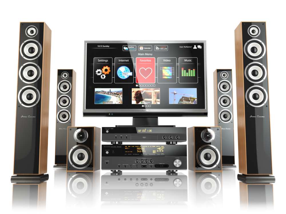 home cinemar system tv oudspeakers player and receiver isol. Black Bedroom Furniture Sets. Home Design Ideas