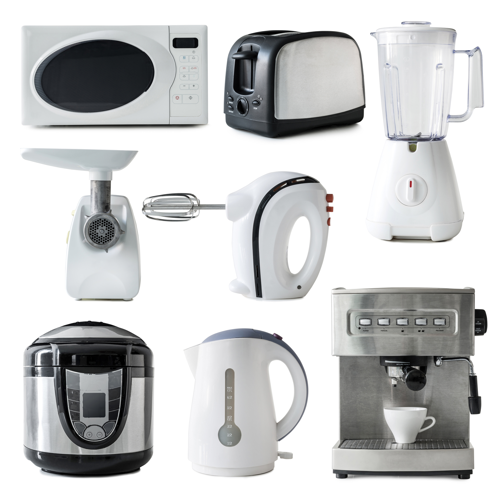 different types of kitchen appliances collage. Black Bedroom Furniture Sets. Home Design Ideas