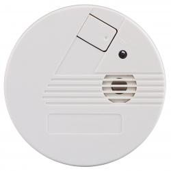 Closeup of a smoke detector over a white background